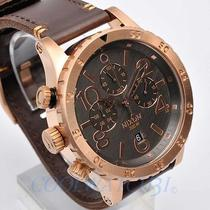 Nixon A363-2001 A3632001 48-20 Watch Men Chrono Leather Rose Gold Gunmetal Brown Photo