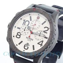 Nixon A363-486 A363486 48-20 Watch Chrono Black Leather Gunmetal White Ems New Photo