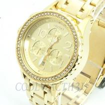 Nixon A404-1520 A4041520 Watch Ladies 38-20 Chrono All Gold Crystal Bracelet New Photo