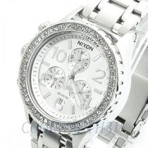 Nixon A404-1874 A4041874 38-20 Ladies Watch Chrono All Silver Crystal Nib New Photo