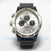 Nixon A486-180 A486180 48-20 Watch Mens Black Silver Chrono W/extra Link Ems New Photo