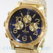 Nixon A486-1922 A4861922 48-20 Mens Watch Chrono Gold Blue Sunray Surf Skate New Photo