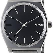 Nixon Men's Time Teller Stainless Silver Bracelet Band Black Watch A0451885-00 Photo