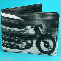 Nixon Mens Black Bike Real Leather Wallet Bi Fold Money Clip New Photo