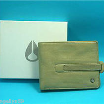 Nixon Mens Wallet Real Leather Tan Cream Bi - Fold Rare New in Box Rrp 69 Photo