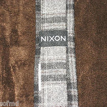 Nixon Watch Mens Skinny Substance Neck Tie Plaid Grey & Black Pattern Ships Free Photo