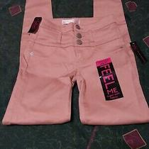 No Boundaries Size 1  Stacked Waist Blush Pink Pants Straight Leg Nwt Photo