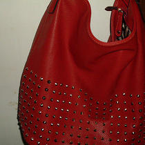 No Name Brand Red Faux Pebbled Leather Studded Large Hobo 131313   Photo