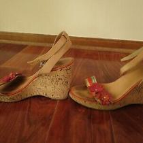 No Reserve Coach 'Morgan' Ribbon & Leather Flowers Cork Wedge Sandal-Sz 8 M Photo