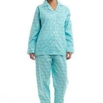 Noble Mount Womens Flannel Pajama Sleepwear Set - Fish Aqua - Large Photo