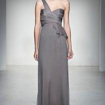 Nordstrom 310 Amsale One Shoulder Silk Gown Graphite Size 14 Wedding Prom Photo