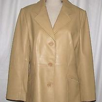 Nordstrom Beige Lamb Skin Leather Button Front Tailored Blazer Jacket Medium Photo