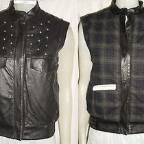 Nordstrom Gryphon Insulated Leather Reversible Plaid Studded Moto Biker Vest Sml Photo