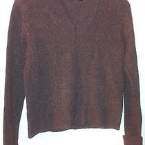 Nordstrom Halogen Brown Pullover v-Neck Lambs Wool Blend Sweater Sz L - Dd Photo