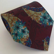 Nordstrom Hawaiian Paisley Scroll Swirl Wine Aqua Blue Gold Mens Silk Tie Italy  Photo