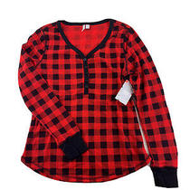 Nordstrom Women's Red Black Bloom Buffalo Check Plaid Pajama Top Poly/cotton M Photo