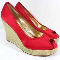Nordstroms Boutique Womens Sz 9 Red Stain Wedge Platform Heel Esapdrilles Shoes Photo