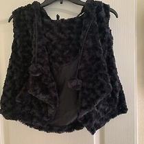 Nordstroms Kensie Fur Hooded Vest Black Pom Pom Ties M Nwt Photo