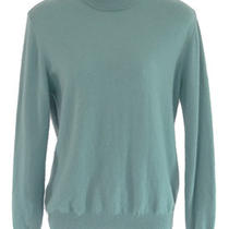 Norm Thompson M Aqua Blue 100% Cashmere Mock Turtleneck Sweater Plush Classic Photo