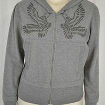 Norma Kamali Gray Eagle Zip Front Hooded Sweatshirt Sz Xl Photo
