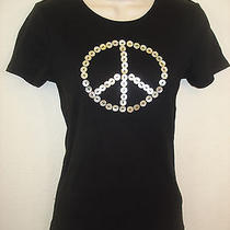 Norma Kamali Peace Tee Mother of Pearl Buttons S Xs Black Organic Cotton Euc Photo