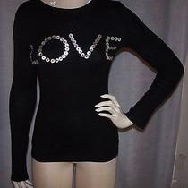 Norma Kamali Xs 30 Bust Black Mother of Pearl Buttons Love Crewneck Knit Top Photo