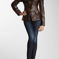 Norstrom 400 Guess Knit Collar Genuine Leather Jacket Coat Brown  (M) Photo