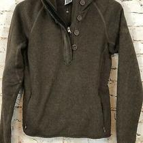 North Face Hoodie Fleece Pullover Womens Medium Brown 1/2-Button Zip Pockets F4 Photo