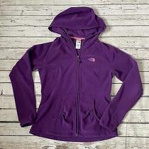 North Face M Medium Womens Full Zip Hoodie Jacket Coat Ruched Pockets Purple Photo