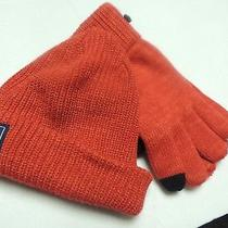 North Face Mems Lambswool Beanie and Matching Gloves Red One Size Nwt Photo