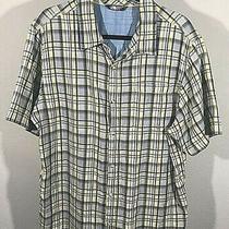 North Face Men Shirt Size Xl Yellow Gray Plaid Short Sleeve Photo