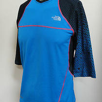 North Face Mens Lwh Crew Jersey Mountain Bike Shirt Blue M Medium 75 Photo
