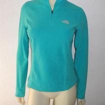 North Face Sz S Aqua Sky Blue Tka 100 Fleece Jacket Sweatshirt Top Zip Collar Photo