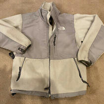 North Face Womens Denali Hooded Fleece Jacket Coat White Gray Size Small Petite Photo