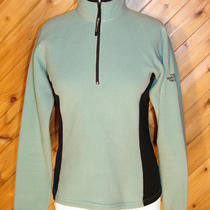 North Face Womens Ls Dark Aqua 1/4 Zip Fleece Sweater Top S Photo