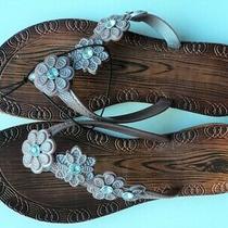 Northcrest Rose Gold Flower Brown Sandals Flip Flops Size 6 Small - Flash Sale Photo