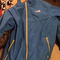 Northface Softshell Jacket- Mens Light Blue and Yellow Photo