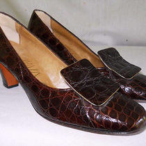 Nos Alligator 7aa Pilgrim Pumps Vintage 70s Vivaldi Big Buckle Croc Brown Chunky Photo