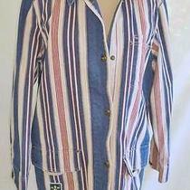 Nos Hunting Utility Barn Jacket Folky Coat Ralph Lauren Stripe Red Cream Navy M Photo