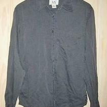 Nos Mens Armani A/x Exchange Gray Cotton Shirt Minimalist Vintage 80s Grunge M Photo