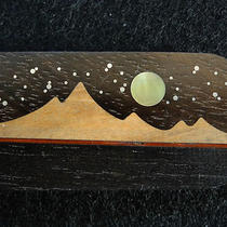 Nos Sst Southwest Brass Wood Inlaid Mountain Mother of Pearl Moon Money Clip Photo