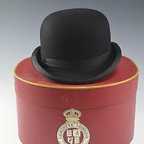 Nos Vintage Mens Black Bowler Hat W Box - Us Sz 7 Uk 6 7/8 Christys London Pr1 Photo