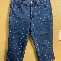 Not Your Daughters Jeans Dewnim Crop Pants Sz 6 Petite Dark Wash/anchors Stretch Photo