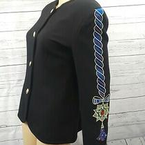 Nota Bene Black Wool Gold Embroidered Beaded Embellished Jacket Blazer Sz 38 Photo