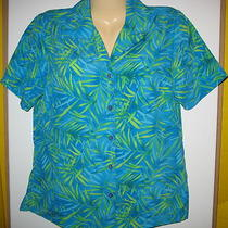 Notations - Aqua & Lime Green 100% Polyester - Button Front Blouse -Small Photo