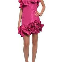Notte by Marchesa Strapless Fitted Silk Taffeta Ruffled Cocktail Party Dress Photo