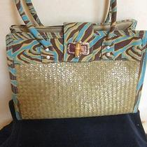 Novelty Natural Lacquer Seagrass Tote Handbag Trimmed With Cotton Animal Print Photo