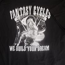 Nude Blonde Fantasy Cycles Custom Bikes T-Shirt We Build Your Dream Bike Week L Photo