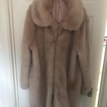 Nude Blush Pink Faux Fur Fluffy Coat Size 18 Photo