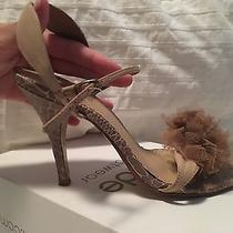 Nude Footwear Snakeskin Mesh Flower Heels Size 37 7 Aquazzura  Photo